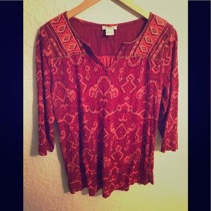 LUCKY BRAND 3/4 Sleeve Top Red/Pink Large